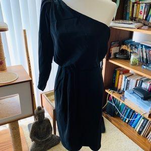 Vintage Lillie Rubin black one shoulder dress S